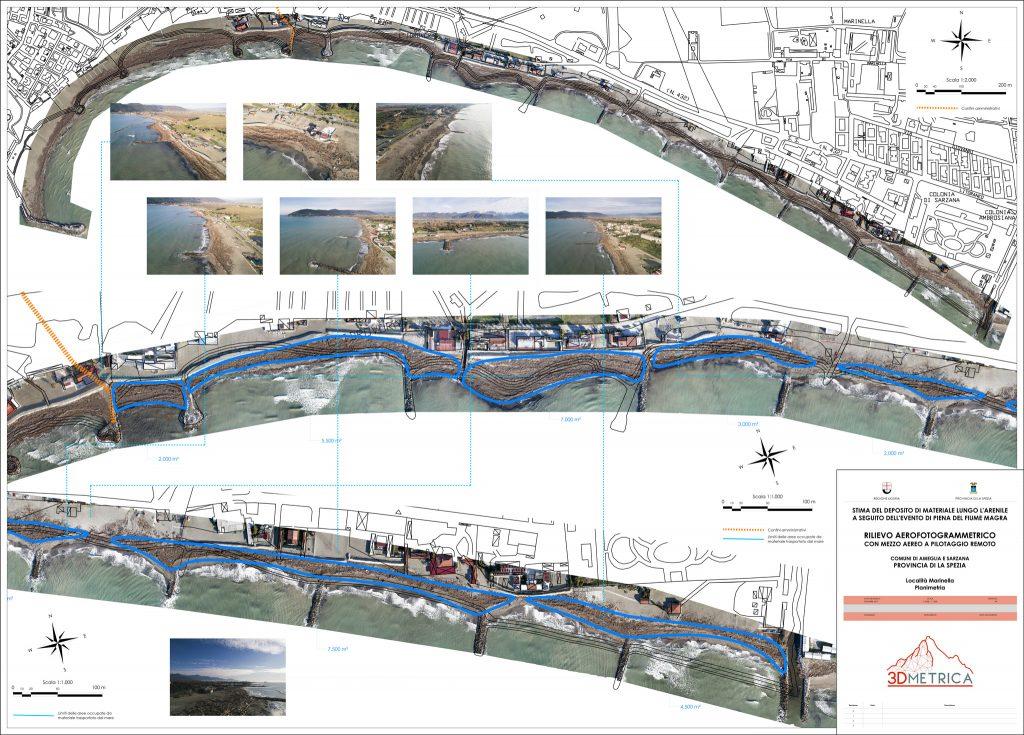 Immagine che mostra i risultati di analisi aerofotogrammetriche mediante APR per la stima dei sedimenti lungo litorale sabbioso - Comune di Sarzana (SP)