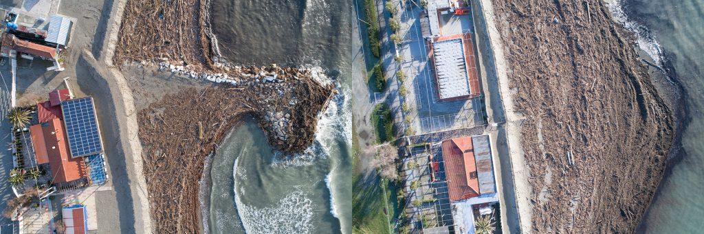 Coppia di immagini riprese da APR di litorale sabbioso coperto da detriti legnosi