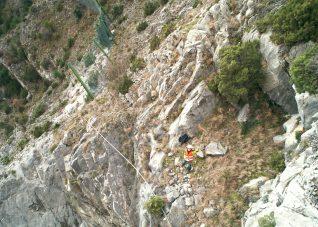 Immagine di Paolo Corradeghini ripresa da drone in un'area in dissesto idrogeologico