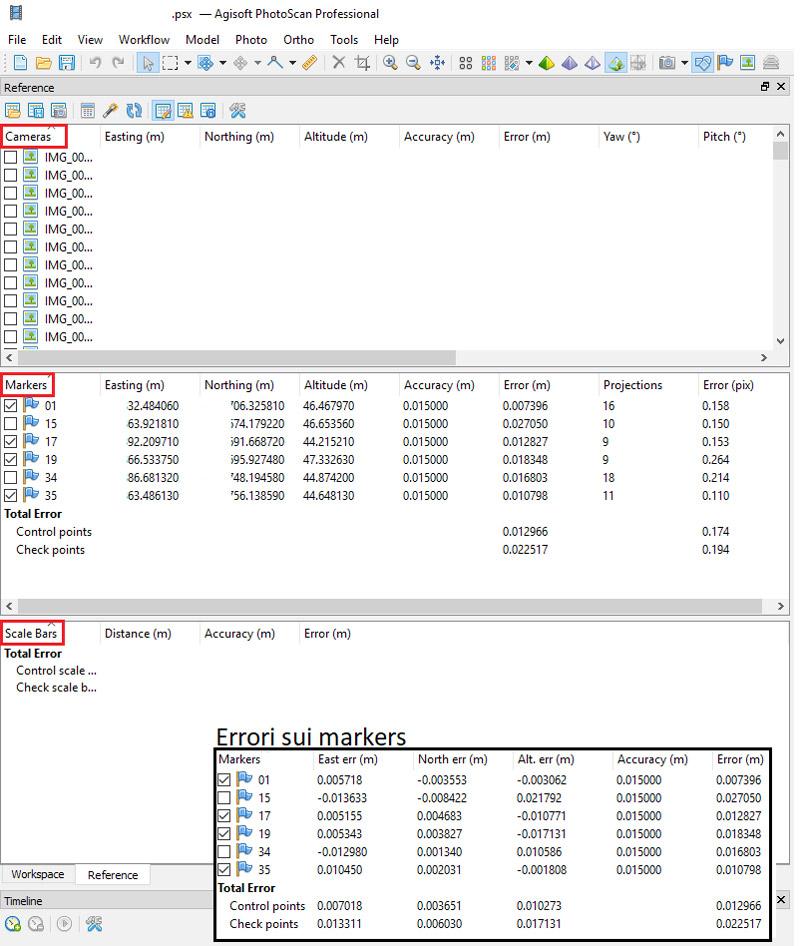 Immagine che mostra la finestra di inserimento dei marker in Agisoft Photoscan