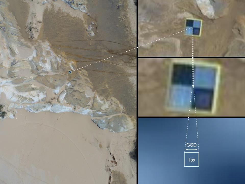 Immagine, formata da quattro immagini rettangolari, che è esemplificativa del GSD Ground Sampling Distance