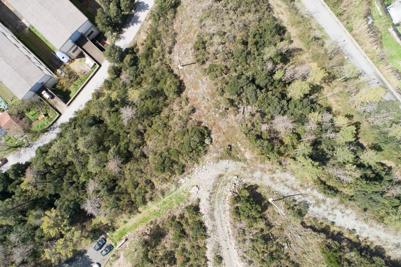 immagine aerea di zona rurale scattata da drone in rilievo aerofotogrammetrico con applicazione del bilanciamento del contrasto