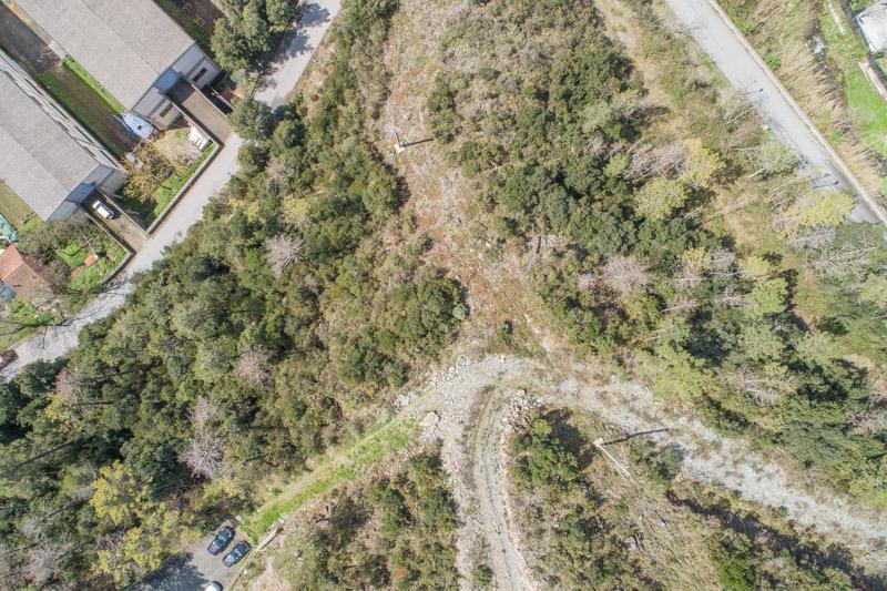 immagine aerea di zona rurale scattata da drone in rilievo aerofotogrammetrico con regolazione bianchi