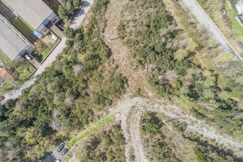 immagine aerea di zona rurale scattata da drone in rilievo aerofotogrammetrico con regolazione neri