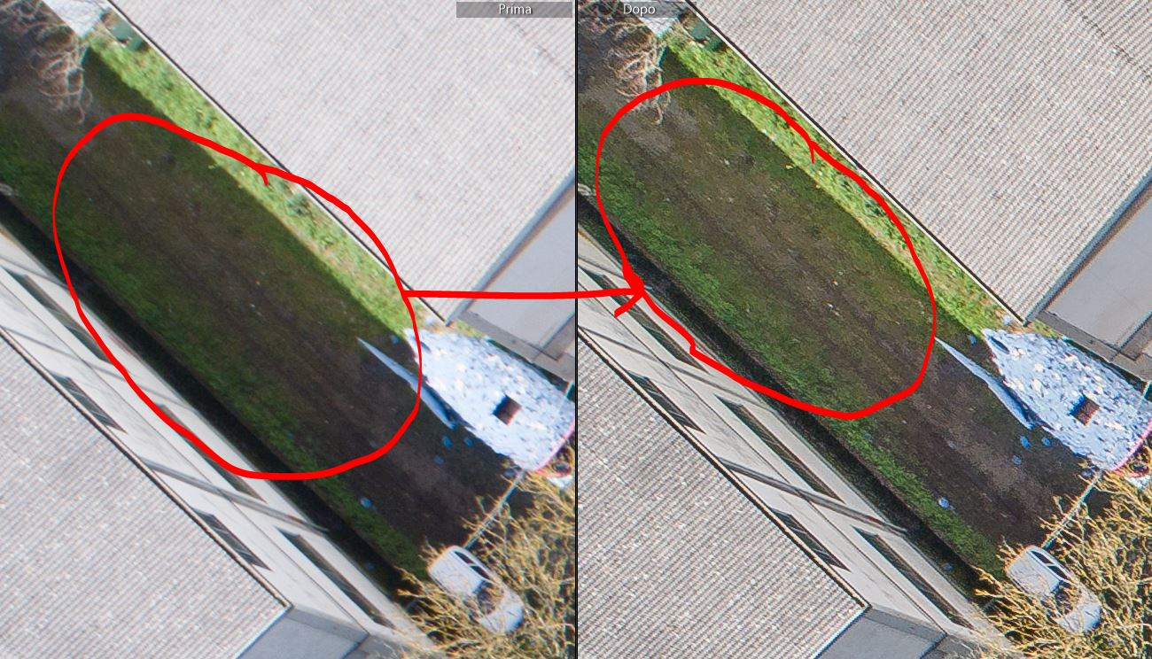 immagine che mostra il confronto tra il prima e dopo l'elaborazione fotografica per fotogrammetria con riferimento alle ombre