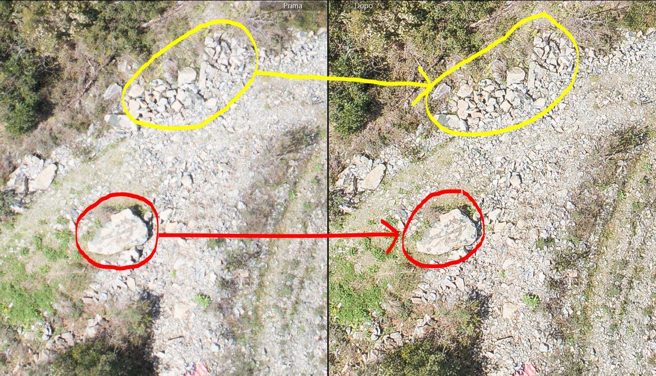 immagine che mostra il confronto tra il prima e dopo l'elaborazione fotografica per fotogrammetria con riferimento alle luci ed ai dettagli