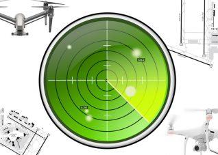 Immagine che mostra le componenti del sistema di localizzazione radar di droni in volo