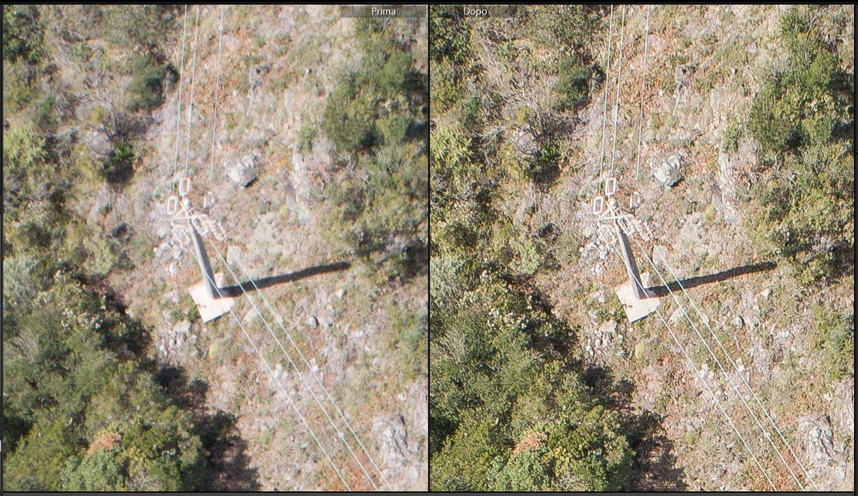 immagine che mostra il confronto tra il prima e dopo l'elaborazione fotografica per fotogrammetria di una foto aerea da drone