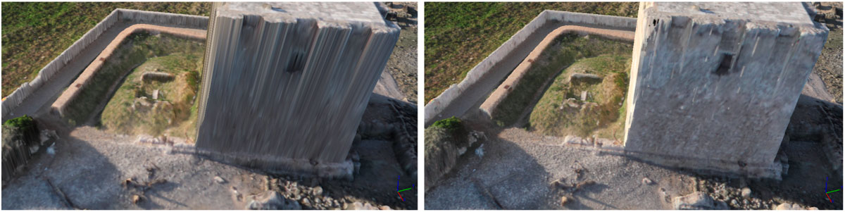 Immagine che mostra due risultati di mesh triangolare creato con modalità arbitrary e height field in Agisoft Photoscan