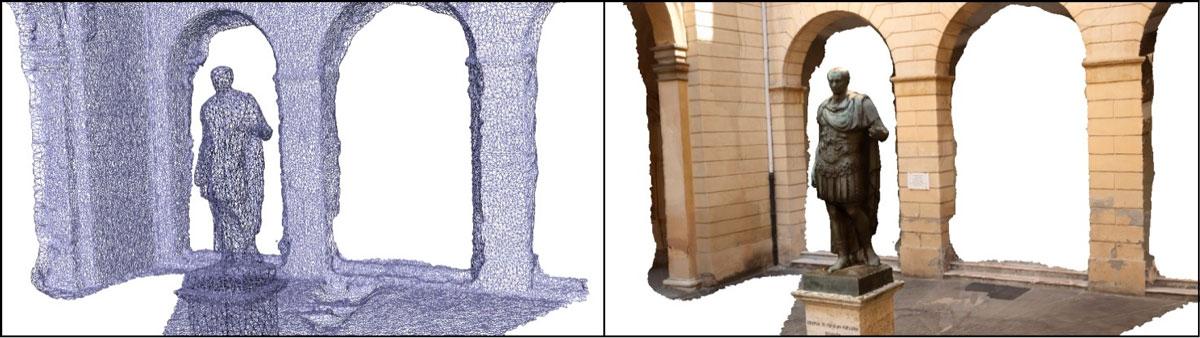 Immagine che mostra affiancate una mesh e un modello texturizzato realizzati con Agisoft Photoscan