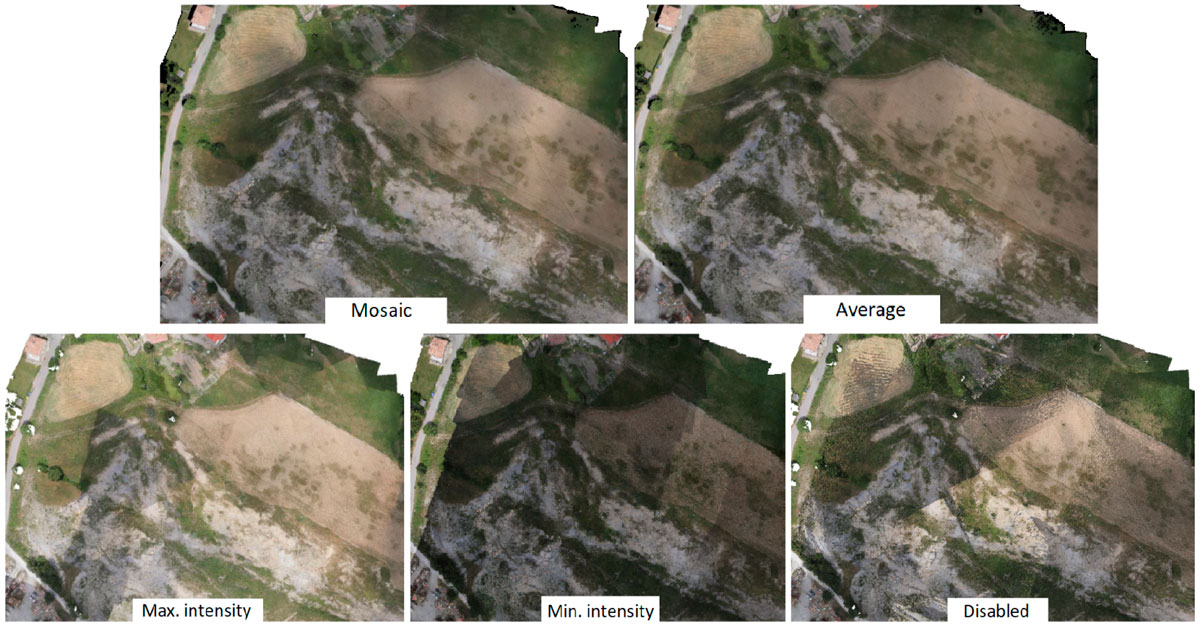 Immagine che mostra il confronto tra texture del medesimo rilievo generate con diverse impostazioni in Agisoft Photoscan