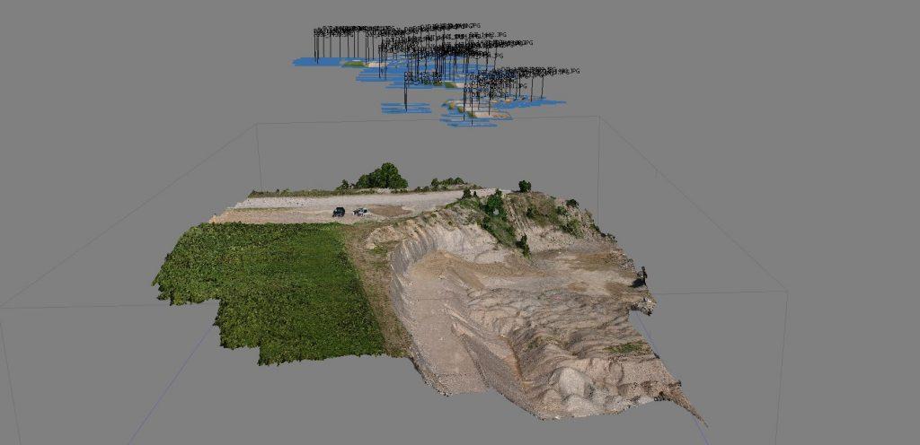 Immagine che rappresenta i punti di ripresa fotografica durante una missione di volo manuale del DJI Spark in un rilievo aerofotogrammetrico