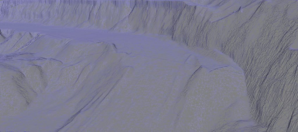 Immagine della mesh tridimensionale triangolare generata dall'elaborazione fotogrammetrica delle foto scattate con il DJI Spark