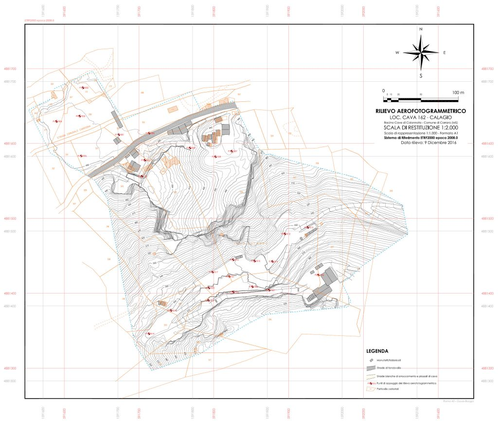 Immagine che rappresenta le restituzione plano-altimetrica di area di cava derivante da rilievo aerofotogrammetrico