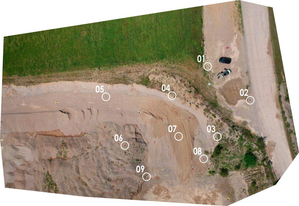 Immagine che mostra la disposizione planimetica su ortofoto di punti di controllo a terra