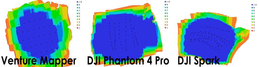 Immagine comparativa che rappresenta la posizione dei punti di ripresa fotografica durante le tre operazioni di volo con diversi APR