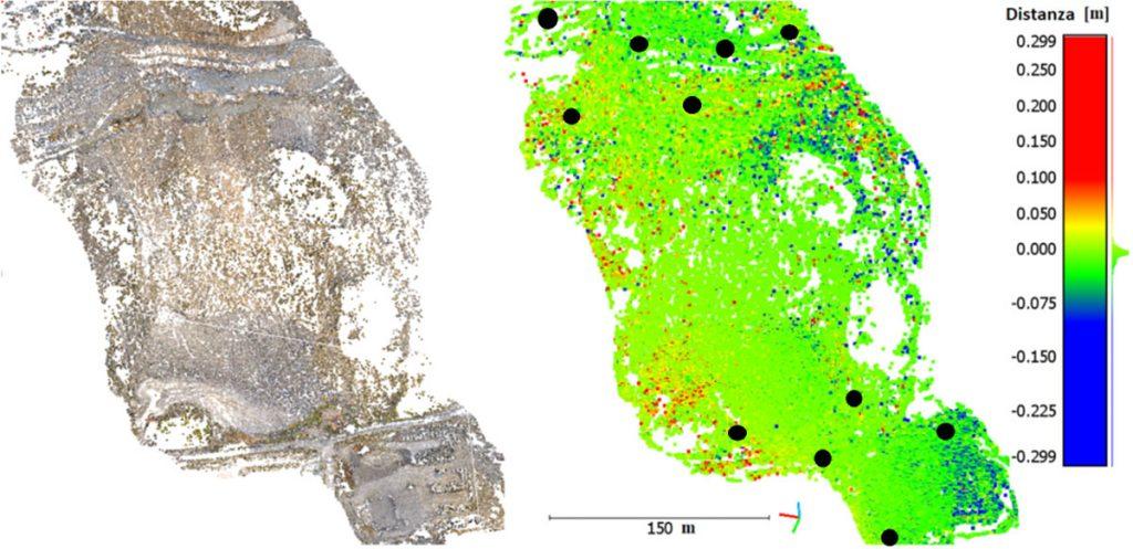 Immagine che mostra l'analisi delle distorsioni di un modello 3D fotogrammetrico al variare dei punti di vincolo