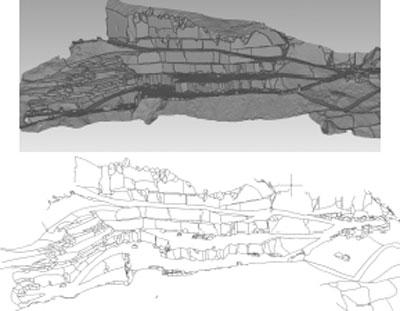 Imamgine che mostra l'estrazione semi-automatica di linee di doscontinuità per vettorializzazione di modello 3D fotogrammetrico