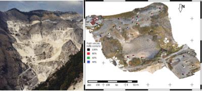 immagine che rappresenta l'inquadramentro del bacino marmifero di Carrara e della cava oggetto di rilievo