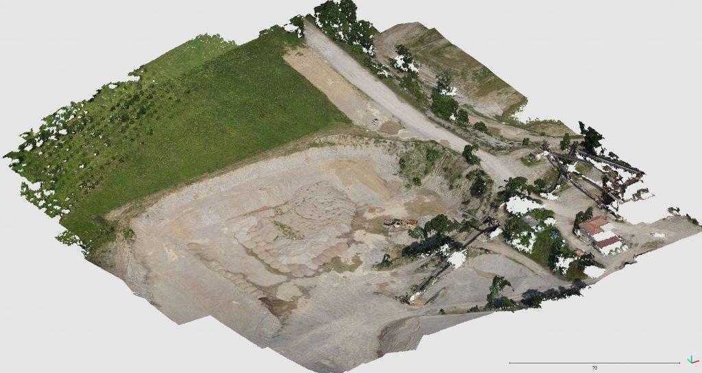 Immagine che rappresenta la nuvola di punti generata dall'elaborazione delle foto della Sony QX1 montata su Venture Mapper