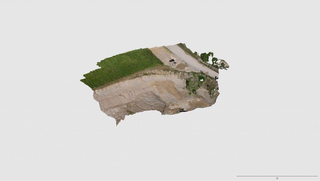Immagine che rappresenta la nuvola di punti generata dall'elaborazione delle foto della camera a bordo del DJI Spark