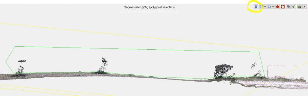 Immagine che mostra la selezione in sezione all'interno del Segment Tool in Cloud Compare