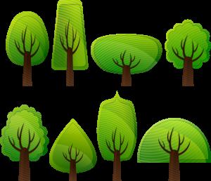 disegno di alberi di lato