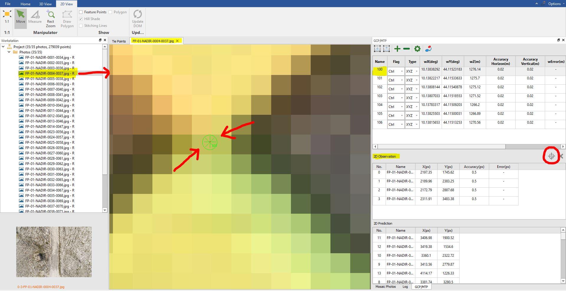 Immagine che mostra come assegnare la posizione di ogni GCP su ogni immagine all'interno di LiMapper