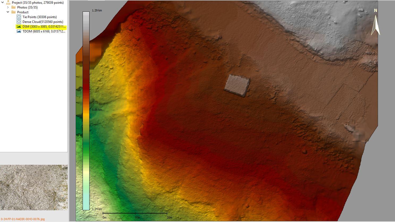 Immagine di un modello digitale di elvazione tipo DSM elaborato in LiMapper