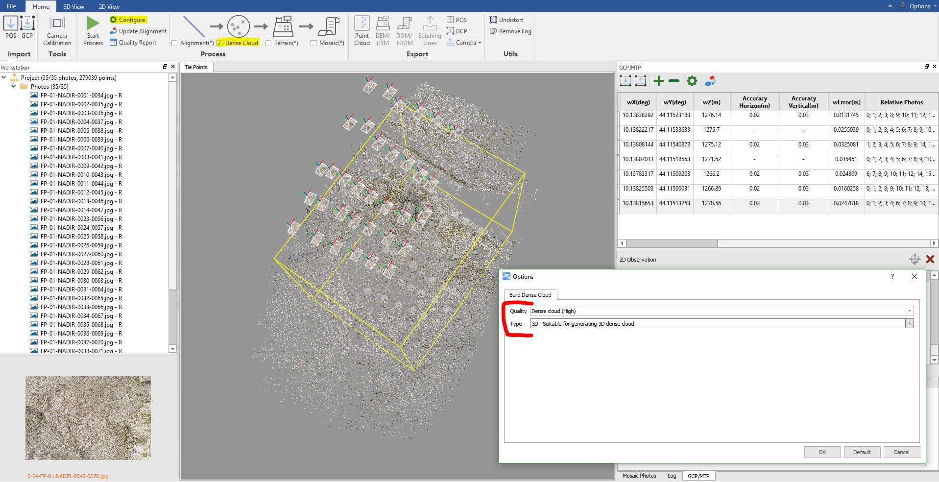 Immagine che mostra la finestra per generare la nuvola di punti densa in LiMapper