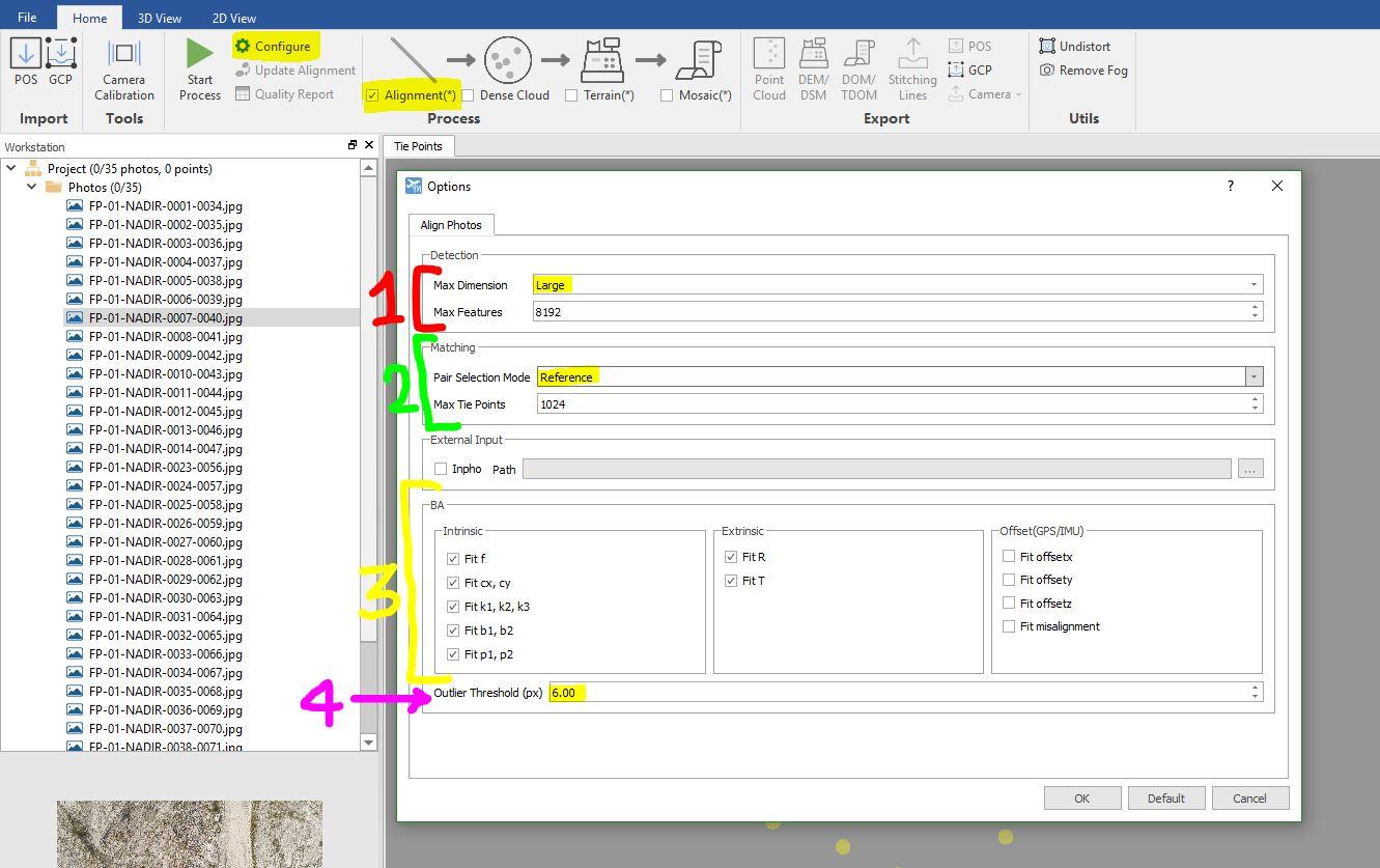 Immagine che mostra le opzioni di allineamento delle immagini nel software LiMapper