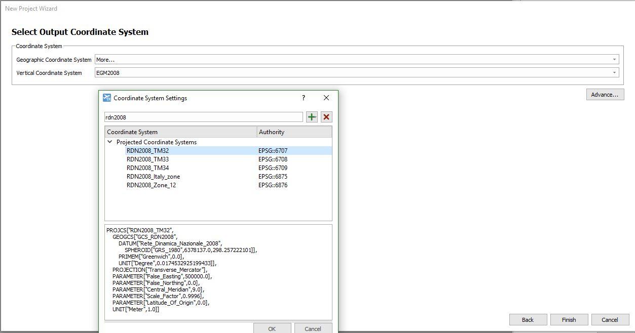 Immagine che mostra la scelta del sistema di riferimento in output all'interno di LiMapper