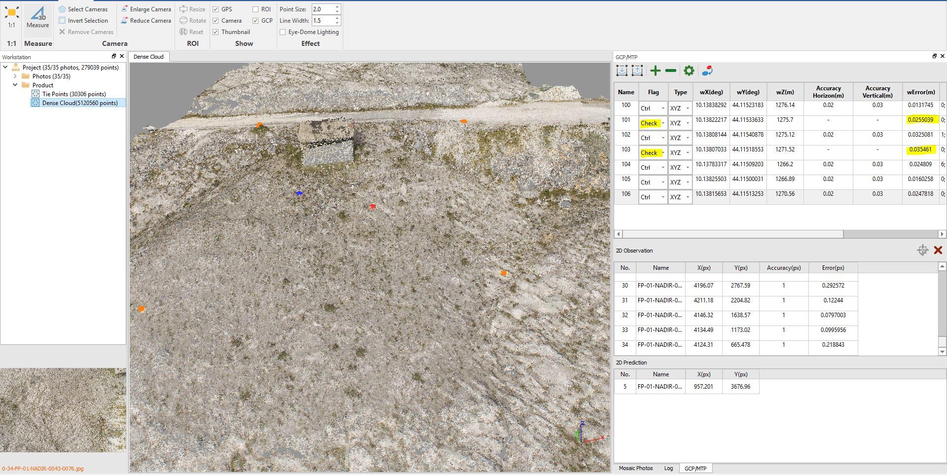 Immagine di una nuvola densa generata dal software LiMapper