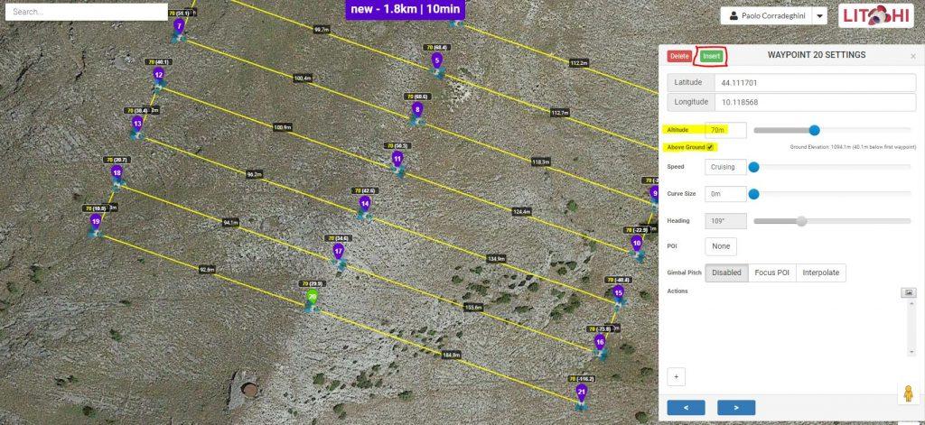 Immagine che mostra come inserire un nuovo waypoint nel Mission Hub di Litchi