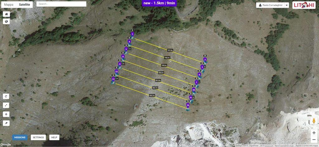 Immagine che mostra l'interfaccia di Litchi Mission Hub