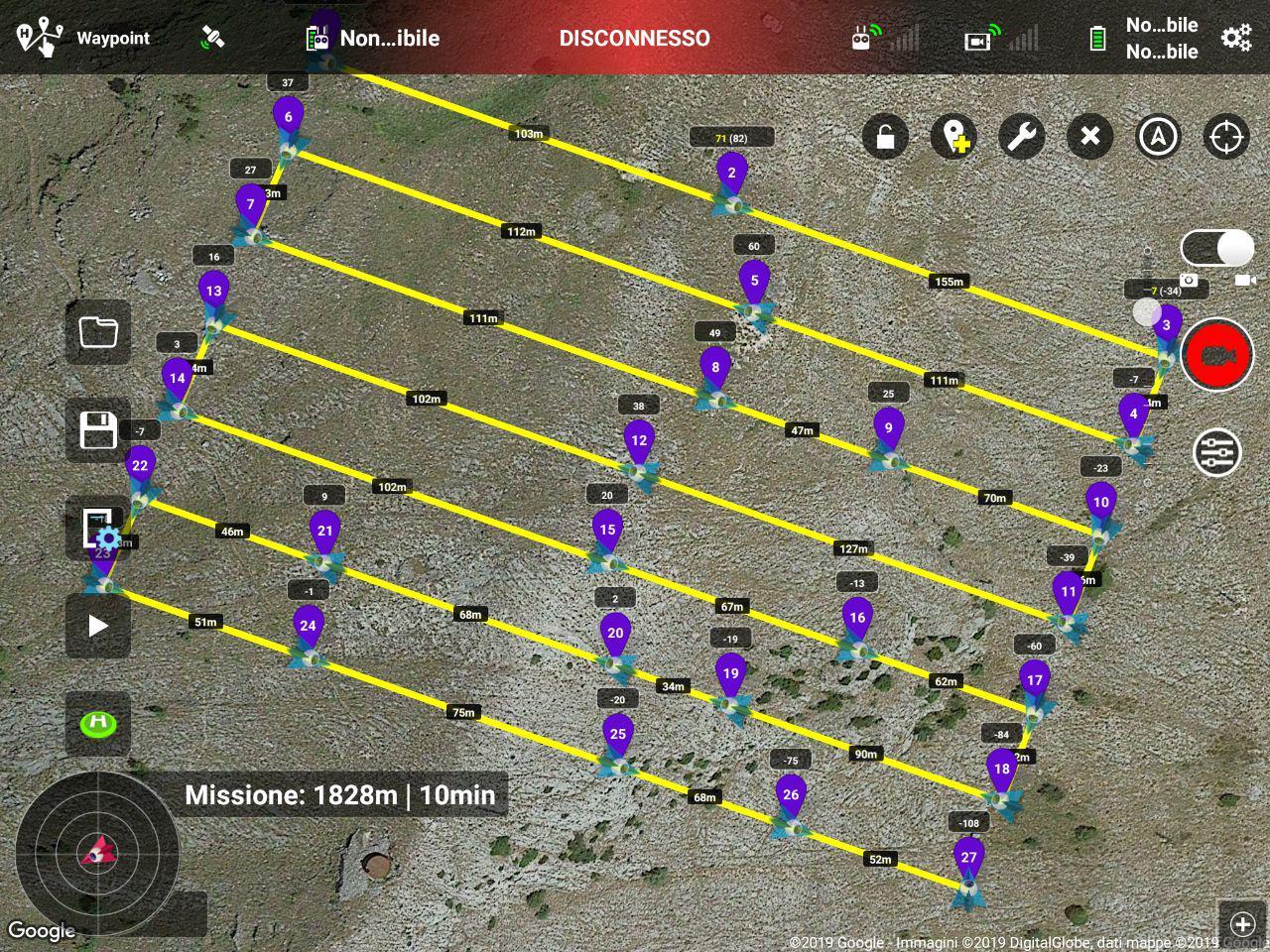 Immagine di una missione di volo caricata nell'app Litchi