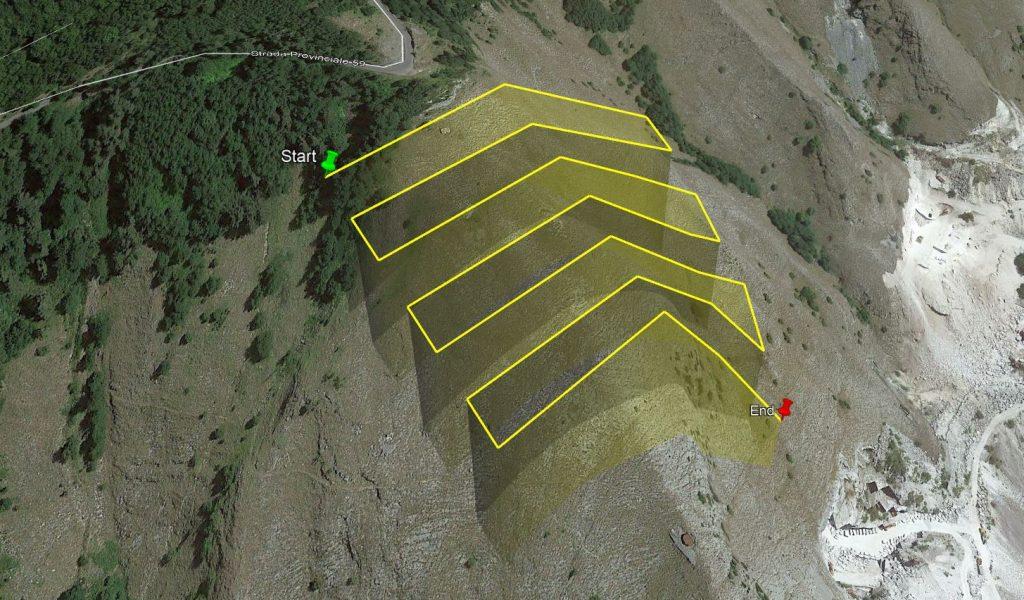 Immagine di una missione di volo 3D caricata su Google Earth da Litchi Mission Hub