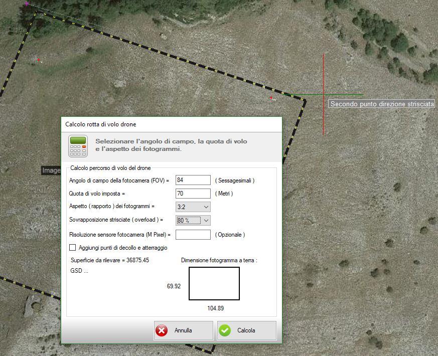 Immagine che mostra la scelta dei parametri di volo per la pianificazione delle missioni in Thopos