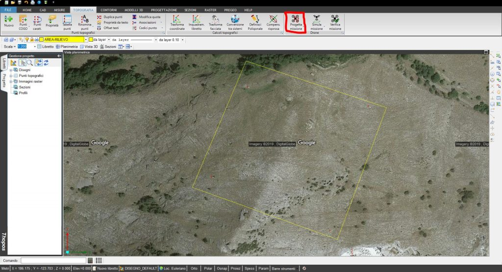Immagine che mostra il progetto di una missione di volo in Thopos