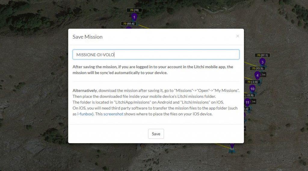 Immagine che mostra il salvataggio di una missione di volo modificata in Litchi Mission Hub