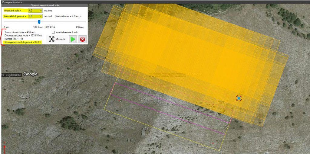 Immagine che mostra la simulazione di una missione di volo automatico in Thopos