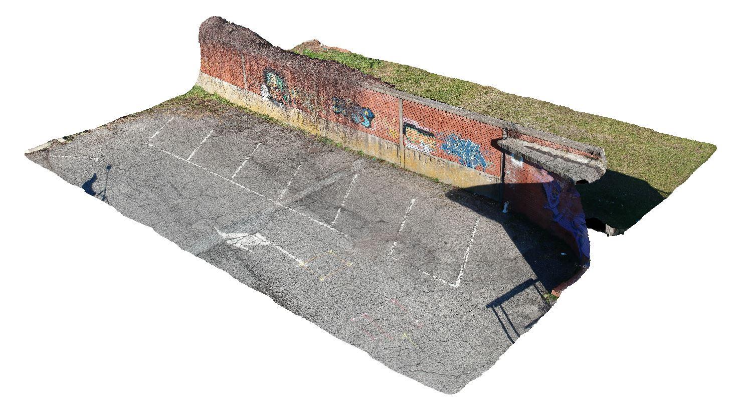 Vista assonometrica di modello tridimensionale ricostruito da rilievo aerofotogrammetrico
