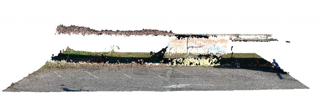 Immagine che mostra la vista frontale di una nuvola densa da elaborazione fotogrammerica fatta con fotografie nadirali