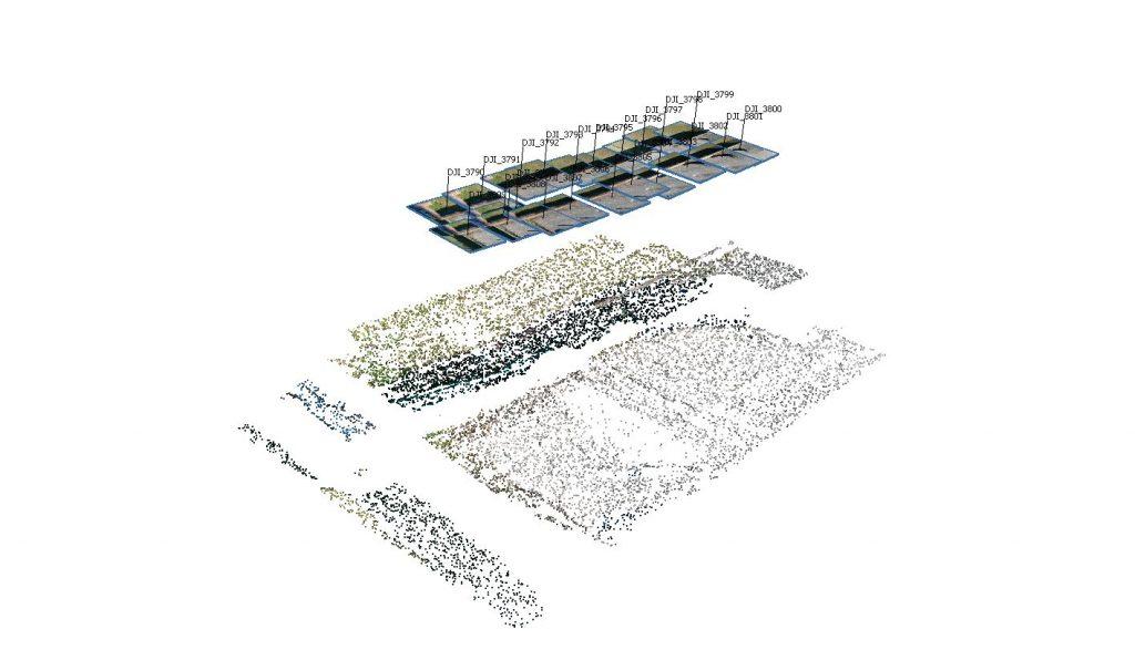 Immagine che mostra la poszione delle fotografie nadirali in un rilievo aerofotogrammetrico