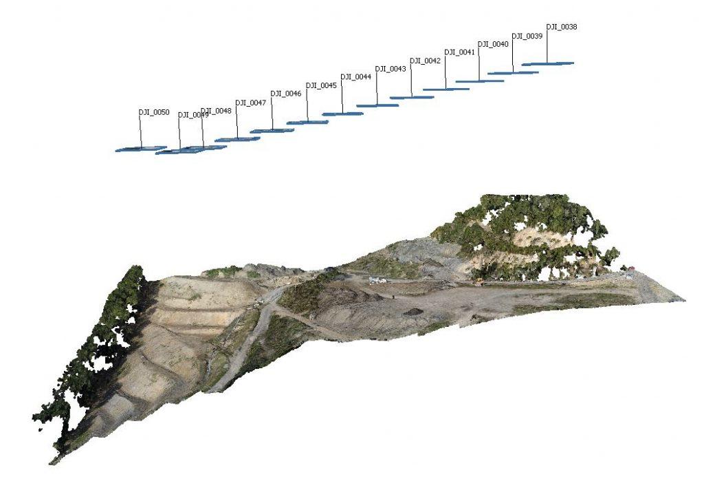 Posizione delle prese fotogrammetriche nadirali in relazione alla nuvola di punti densa