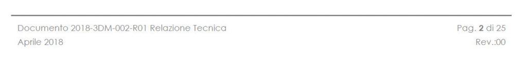 piè di pagina di relazione di rilievo aerofotogrammetrico