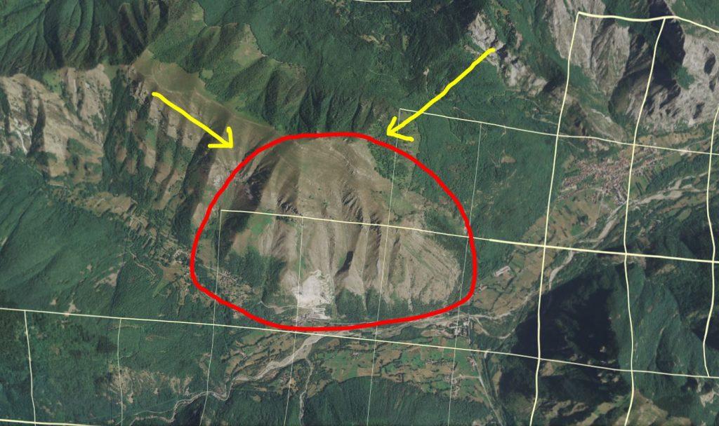Copertura del dati Lidar 1x1 nell'area del rilievo