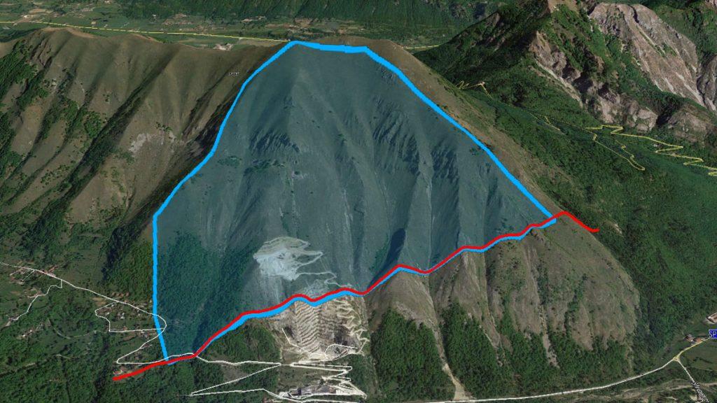 Limite di copertura dei dati Lidar (rosso) e area da rilevare con aerofotogrammetria