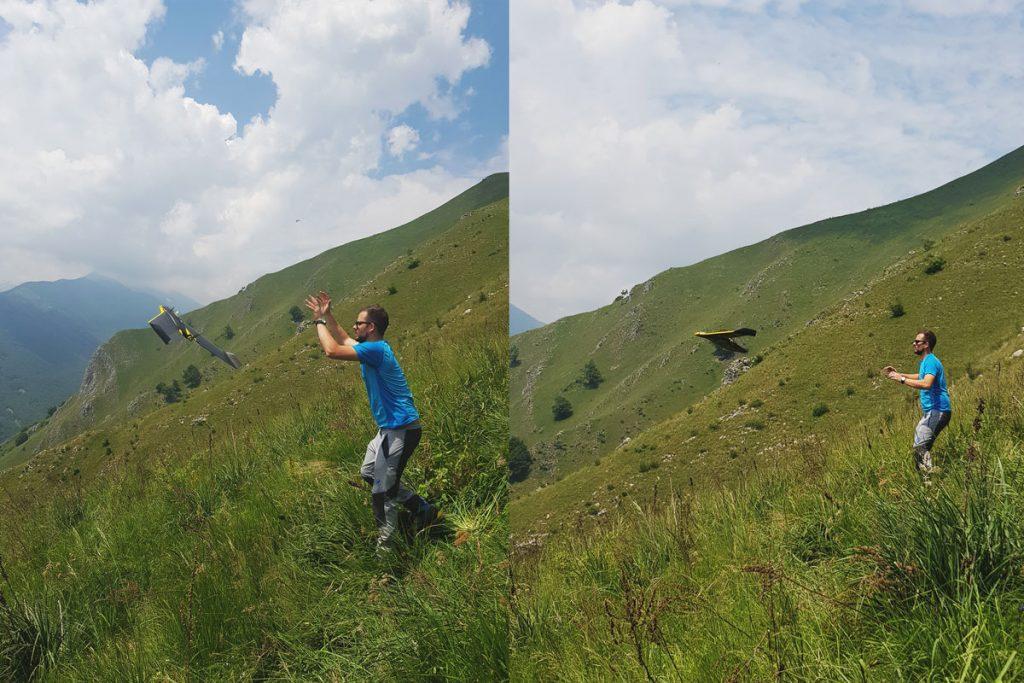 Flavio angoli e decollo del drone Sensefly Ebee