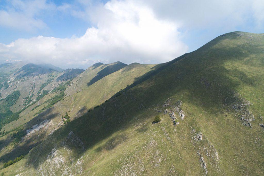 Fotografia aerea dell'area di distacco scattata durante il sopralluogo
